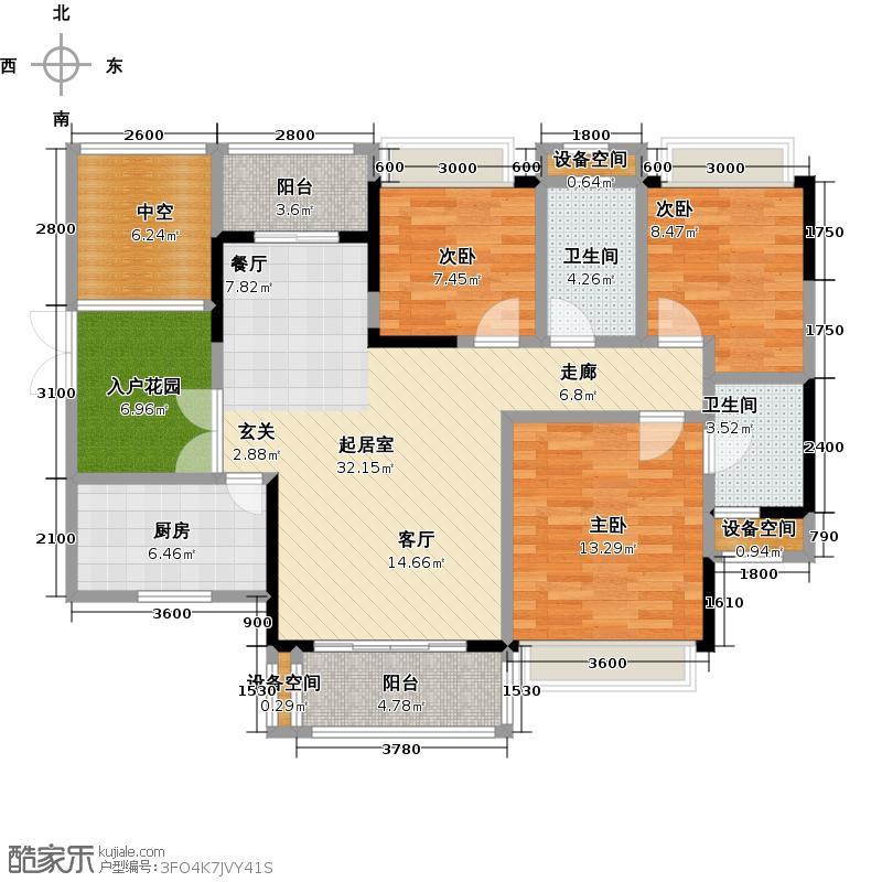 美江国际社区户型3室2卫1厨
