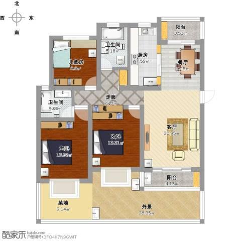 莲鼎苑3室1厅2卫1厨188.00㎡户型图