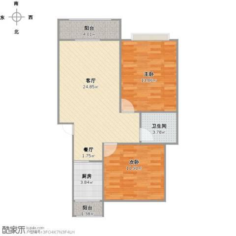 浦发绿城2室1厅1卫1厨85.00㎡户型图
