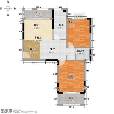 联发欣悦园2期2室1厅1卫1厨89.00㎡户型图