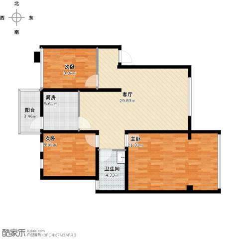 辰兴天御3室1厅1卫1厨116.00㎡户型图