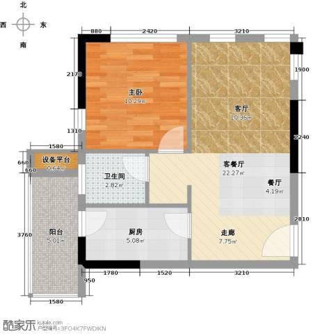 联发欣悦园2期1室1厅1卫1厨52.00㎡户型图