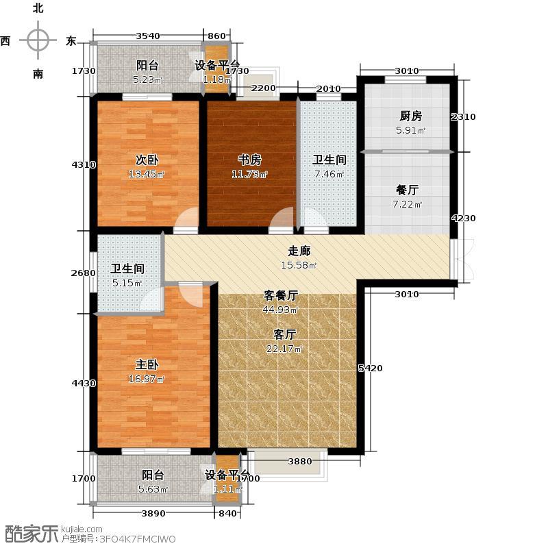 天德一品133.72㎡1-A-三室两厅两卫双阳台户型3室2厅2卫