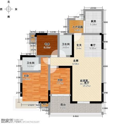 金山龙庭・龙传墅3室0厅2卫1厨121.00㎡户型图