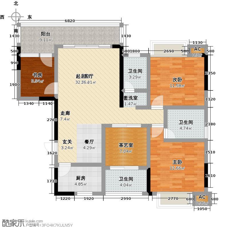 金山龙庭・龙传墅A4户型3室2厅2卫1厨 127.25㎡户型3室2厅2卫