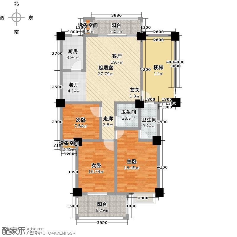 榕翠园(摩卡小城)两房半两厅两卫双阳台-89.3平方米-22套户型