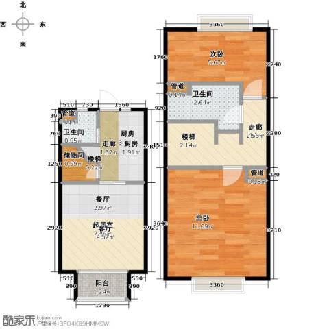 熙晨龙城2室0厅2卫1厨45.00㎡户型图