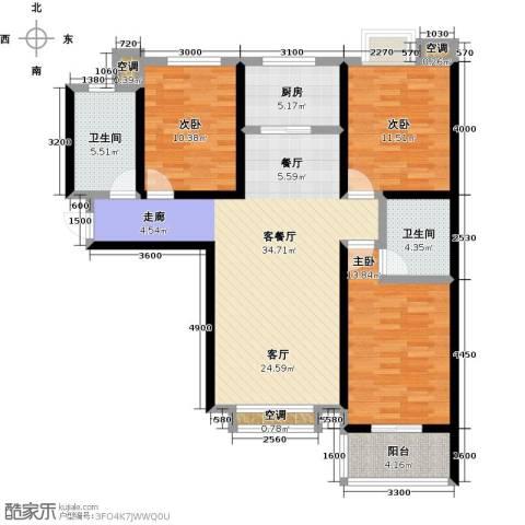 教授花园3室1厅2卫1厨118.00㎡户型图