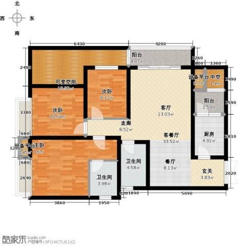 国际花园3室1厅2卫1厨149.00㎡户型图
