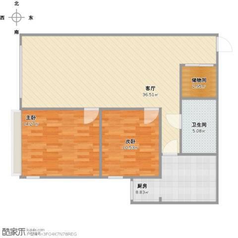 建欣苑六里2室1厅1卫1厨105.00㎡户型图