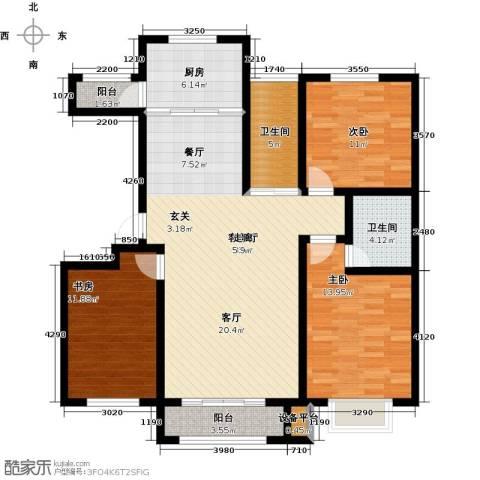 中冶蓝城3室1厅2卫1厨135.00㎡户型图