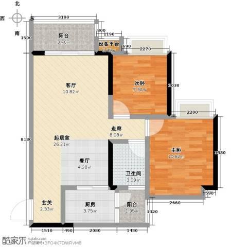 恒泰嘉园派2室0厅1卫1厨78.00㎡户型图