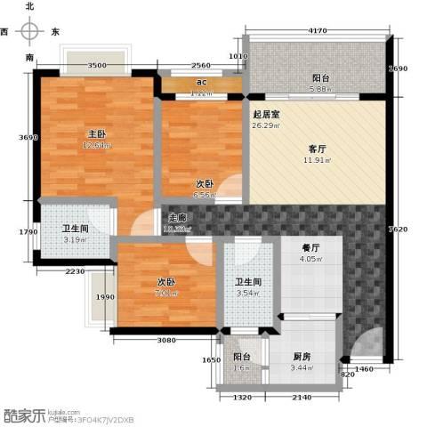 金河湾花园3室0厅2卫1厨104.00㎡户型图