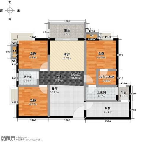 金河湾花园3室0厅2卫1厨115.00㎡户型图