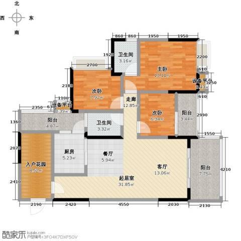 恒泰嘉园派3室0厅2卫1厨115.00㎡户型图