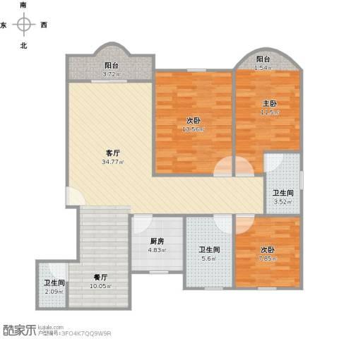 中祥哥德堡3室1厅3卫1厨118.00㎡户型图