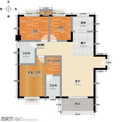 金河湾花园3室0厅2卫1厨125.00㎡户型图