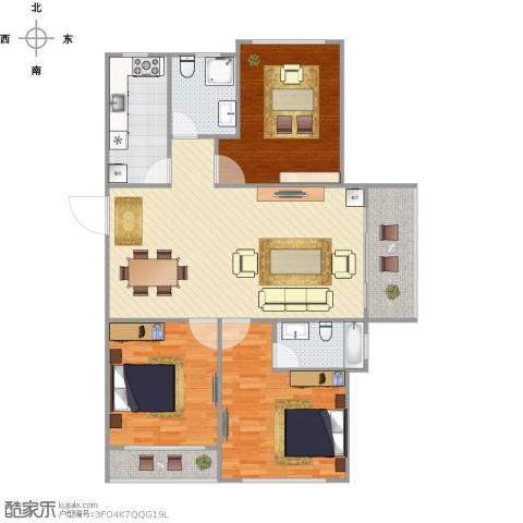 绿地世纪城3室1厅2卫1厨132.00㎡户型图