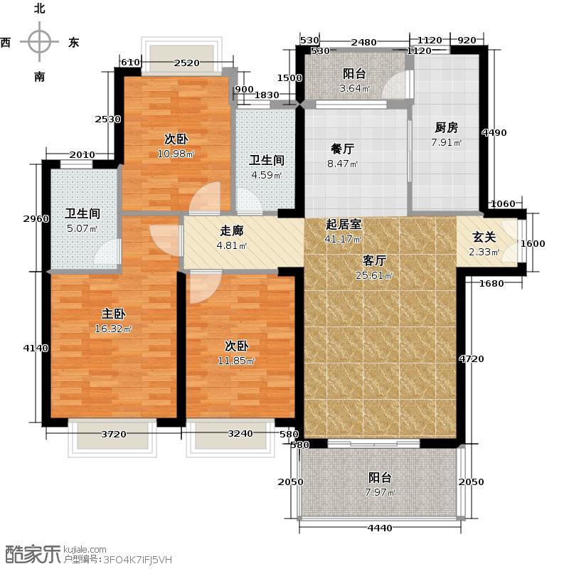 宁德万达广场125.00㎡C户型 三房两厅两卫 125㎡户型3室2厅2卫