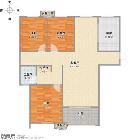 金盛田锦上3室1厅1卫1厨140.00㎡户型图