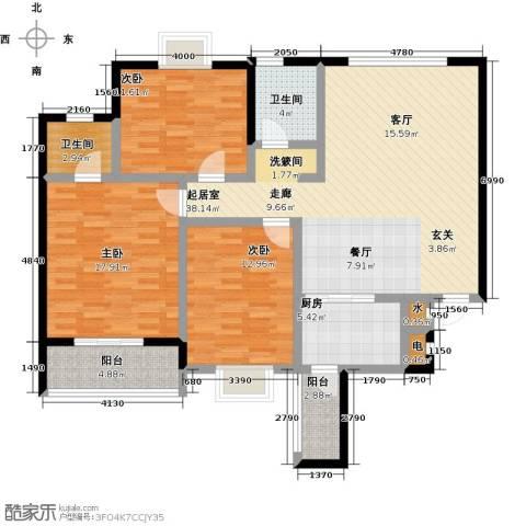 丽水康城(一期)3室0厅2卫1厨119.00㎡户型图