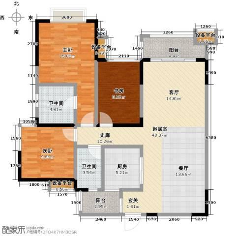 龙湖时代天街3室0厅2卫1厨119.00㎡户型图