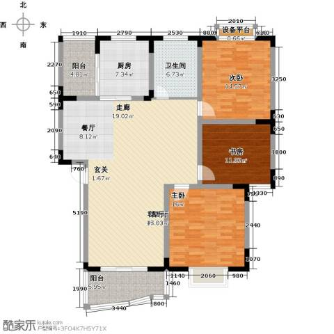 怡丰苑小区3室1厅1卫1厨160.00㎡户型图