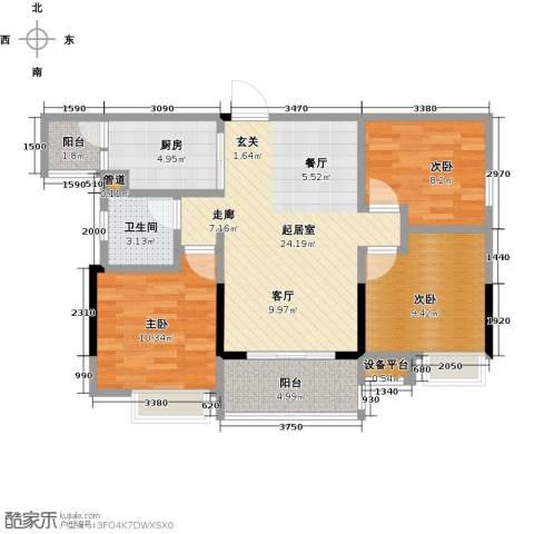 恒泰嘉园派3室0厅1卫1厨98.00㎡户型图