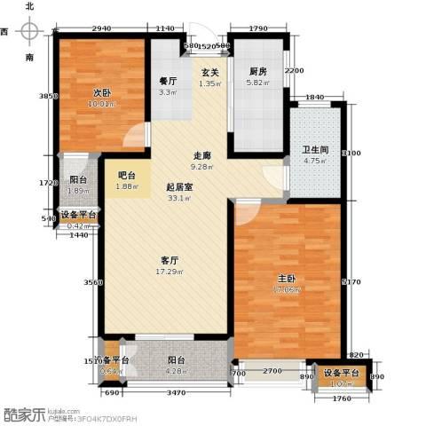 南阳财富公馆2室0厅1卫1厨112.00㎡户型图