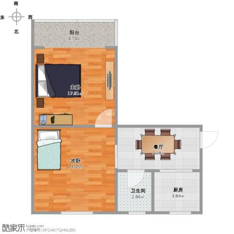 朝晖一区2室1厅1卫1厨62.00㎡户型图