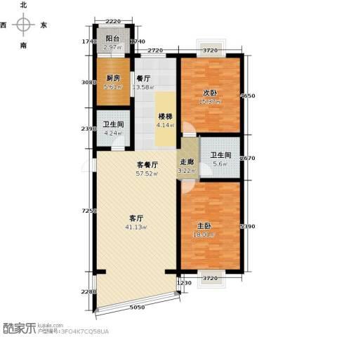 高新花园2室1厅2卫1厨153.00㎡户型图