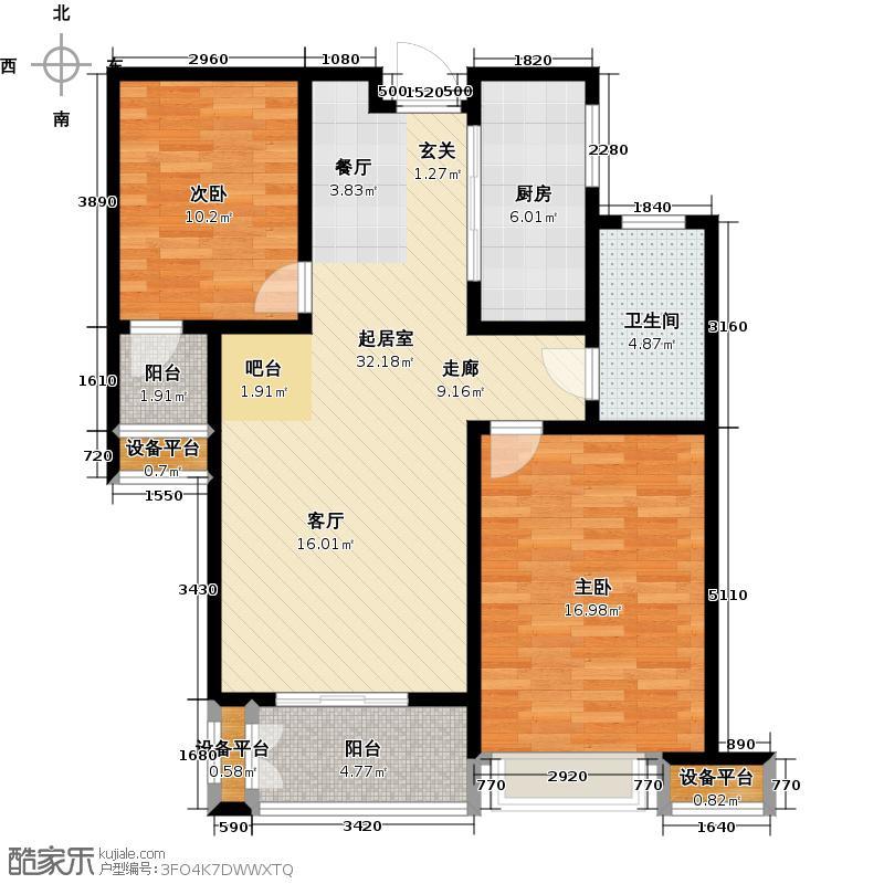 南阳财富公馆90.00㎡轻奢两房,实用主义空间布局户型