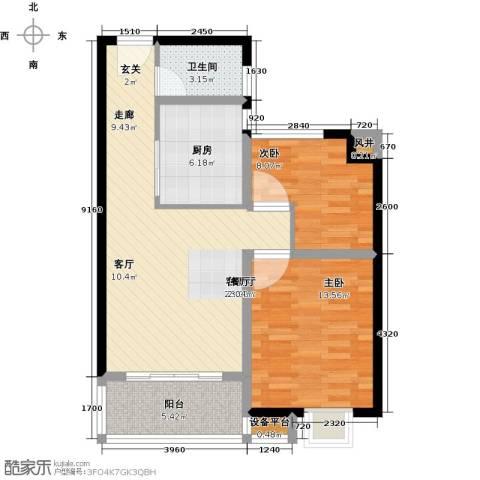 洋河梧桐公馆2室1厅1卫1厨89.00㎡户型图
