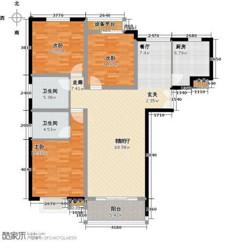 洋河梧桐公馆3室1厅2卫1厨150.00㎡户型图
