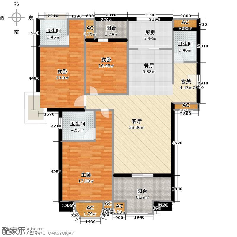 名城中心151.00㎡1#5#楼04单元 三室两厅两卫A户型3室2厅2卫