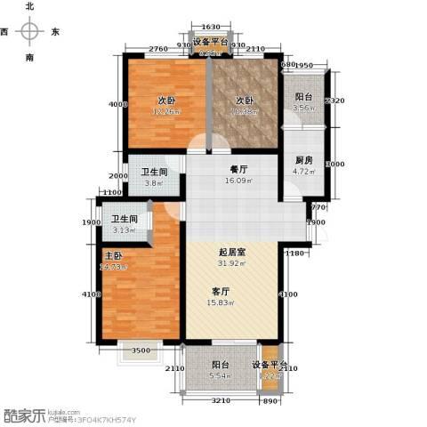 龙华苑3室0厅2卫1厨134.00㎡户型图