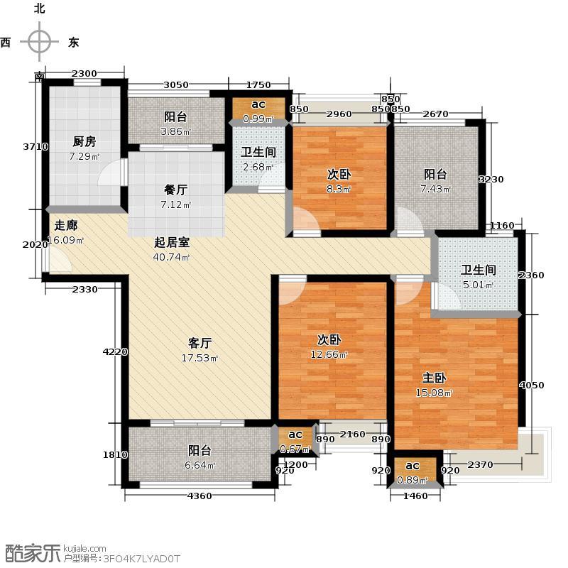 长江首府高层户型3室2卫1厨