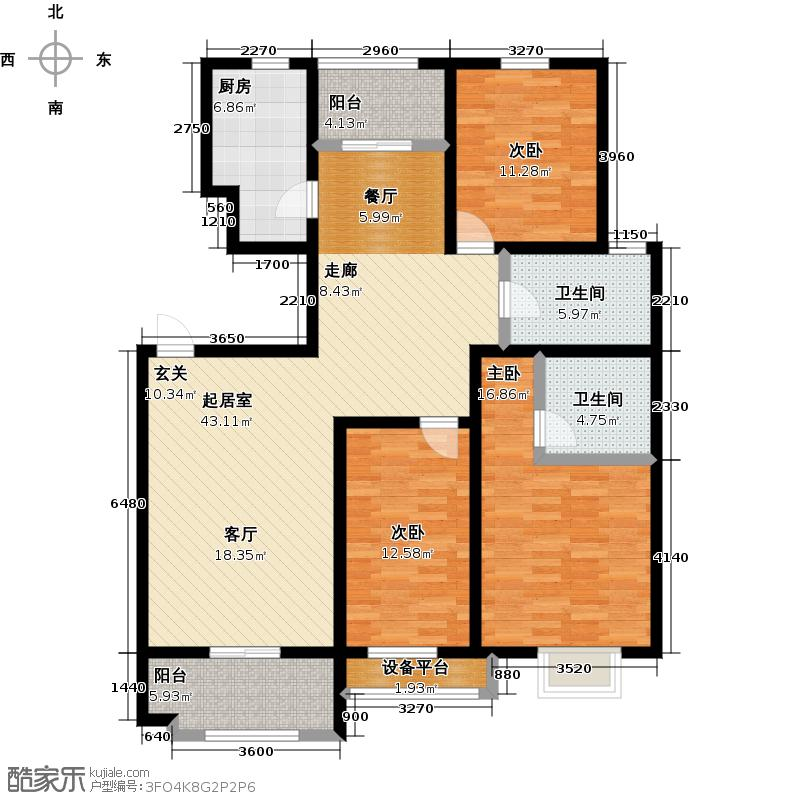 苏宁天润城AB户型三室二厅二卫50-157平方米户型-T