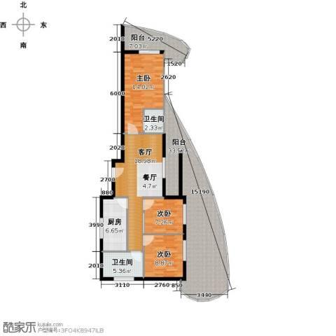 东方・龙湾3室1厅2卫1厨131.00㎡户型图