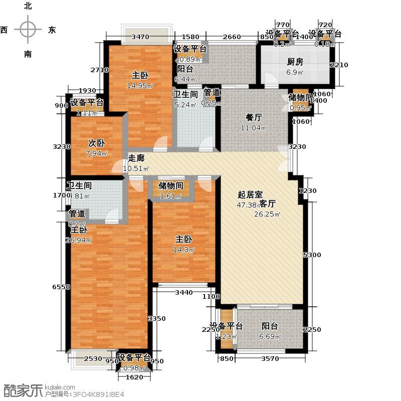 世茂首府174.54㎡1号楼A2户型4室2厅2卫