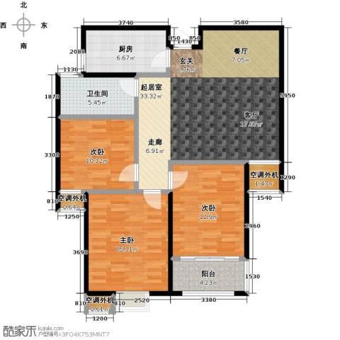 金源世纪名郡3室0厅1卫1厨127.00㎡户型图