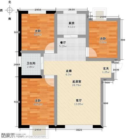 香缇印象3室0厅1卫1厨95.00㎡户型图