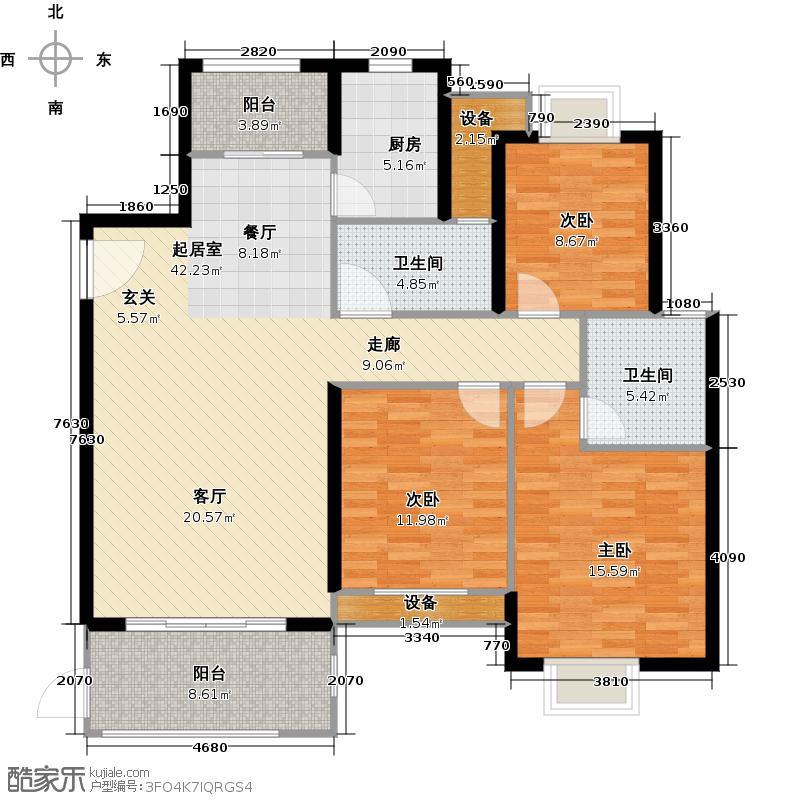 紫金莲园C3户型(4#、5#、7#、9#、11#):约118~121m2,3房2厅2卫户型3室2厅2卫