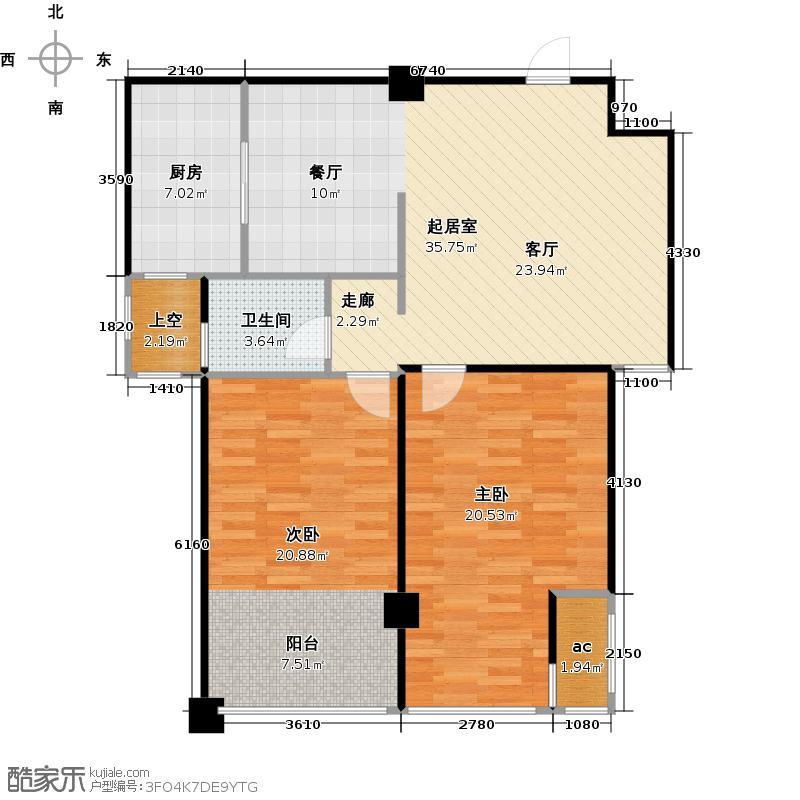 万锦皮革城93.64㎡两室两厅一卫户型