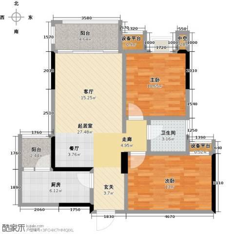 龙湖时代天街2室0厅1卫1厨76.00㎡户型图