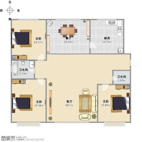 首府洋房3室2厅2卫1厨204.00㎡户型图