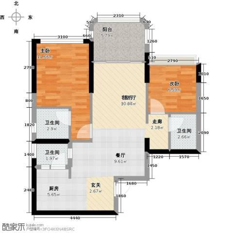 碧桂园・金海湾2室1厅3卫0厨88.00㎡户型图