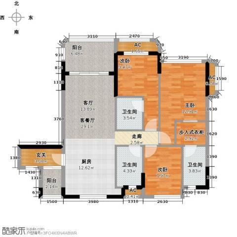 碧桂园・金海湾3室1厅3卫0厨128.00㎡户型图
