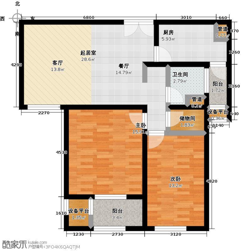 世茂首府89.95㎡5号楼B5户型标准层1户型2室2厅1卫