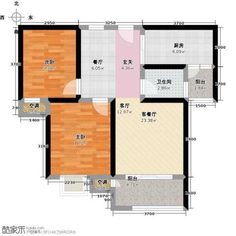 教授花园2室1厅1卫1厨73.00㎡户型图